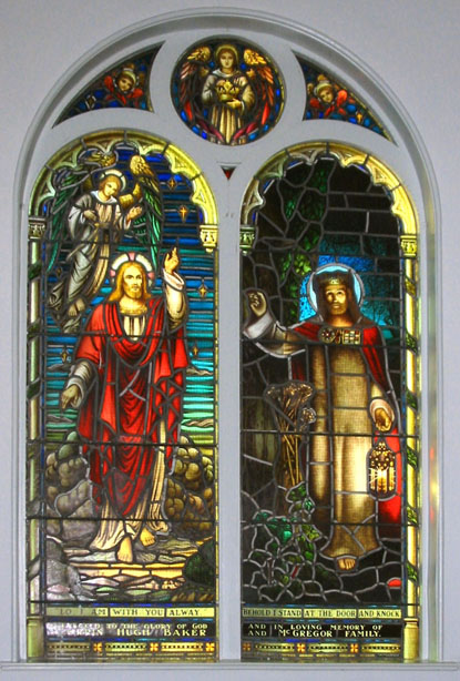 North facing stained glass window.